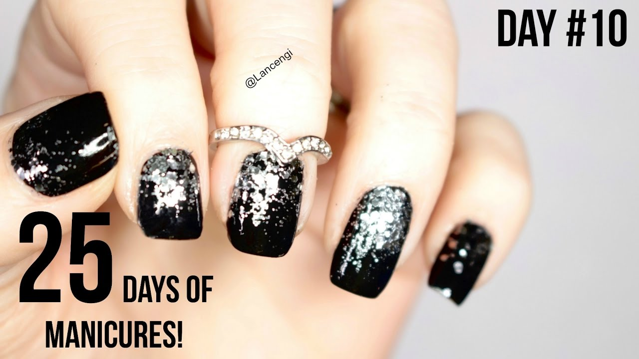 day 10 25 days of manicures black nail art youtube - Black Christmas Nails
