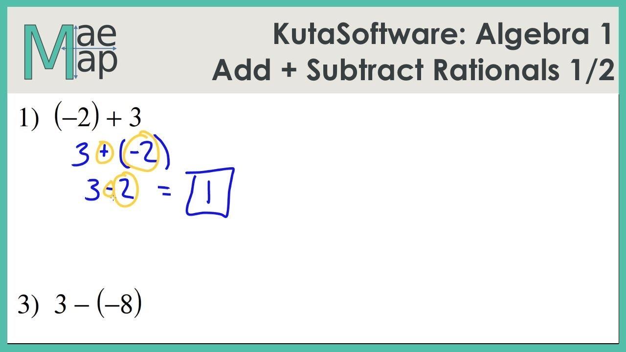 KutaSoftware: Algebra 1- Adding and Subtracting Rational Numbers Part 1