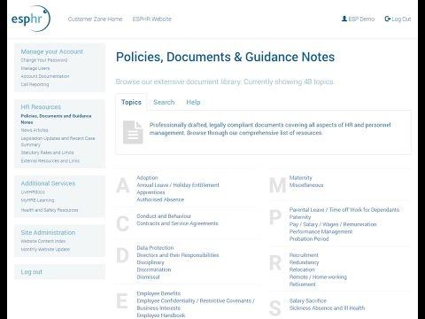 Online HR Resources Portal - esphr