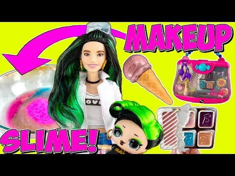 LOL DOLLS MAKING BARBIE MAKEUP SLIME! LOL Bhaddie Family Mixing Makeup Into Slime! Doll Slime Videos