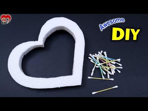 WOW Beautiful !! Heart Shaped Photo Frame Making at Home    Heart Showpiece DIY    Handmade Things