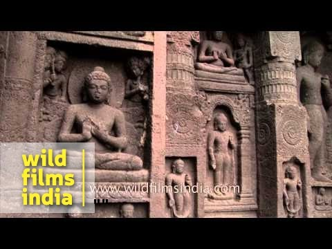 Pre-historic sculptures and stone carvings - Ajanta Caves, India