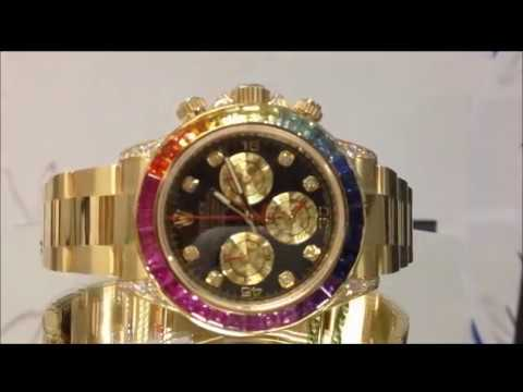 ed54a85b0 Rolex Rainbow Daytona Cosmograph Yellow Gold Watch Review - YouTube