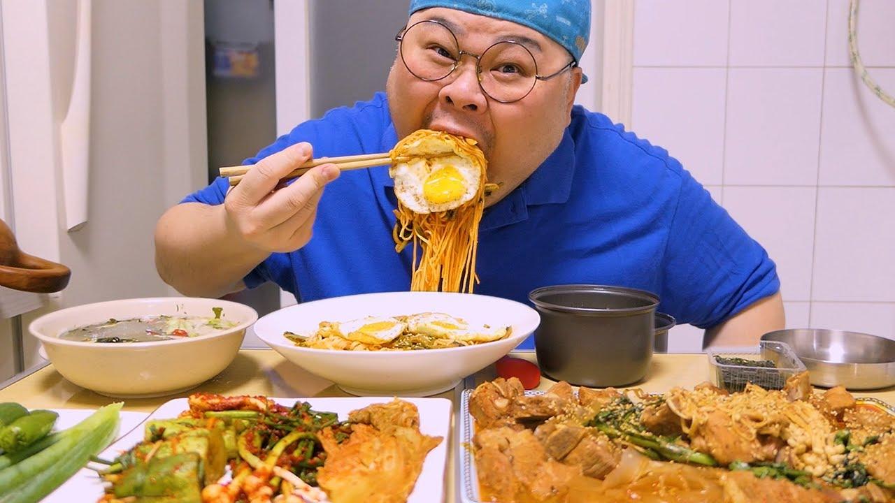 「혼밥 가이드」열무비빔국수, 매운돼지갈비찜│매운거 요리할때 기침은 왜나요?ㅜㅜ😭 Mukbang Eatingshow [Spicy Noodles, Braised Short Ribs