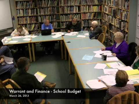 Warrant and Finance - School Budget - 03-26-2013