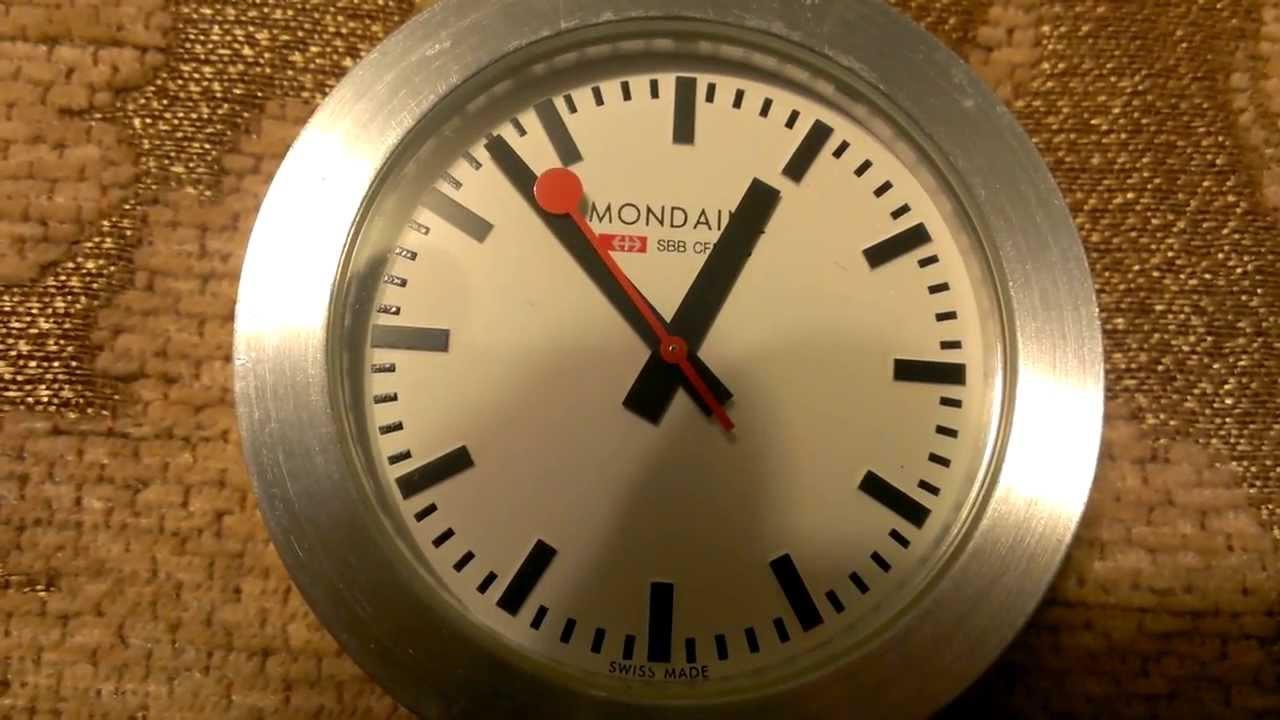 Mondaine swiss railway travel clock quartz ronda youtube - Mondaine travel clock ...