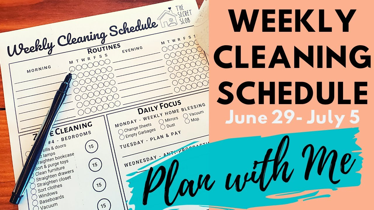 Plan with Me | The Secret Slob Weekly Cleaning Checklist | June 2020