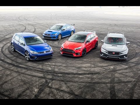 Honda Civic Type R vs. Ford Focus RS vs. Subaru WRX STI Type RA vs. Volkswagen Golf R