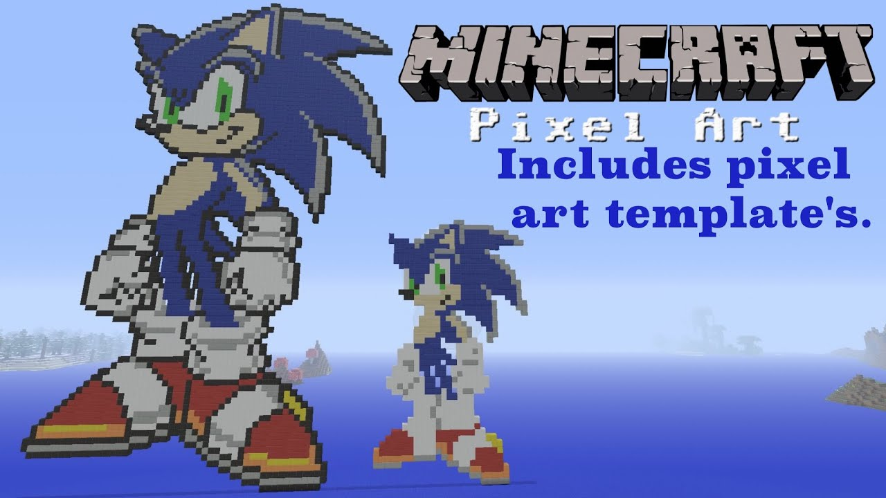 Minecraft Pixel Art Sonic The Hedgehog With Build Templates 5 Youtube