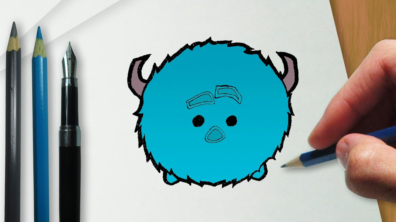 How To Draw Sulley Disney Tsum Tsum Version