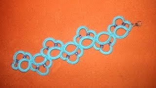 Repeat youtube video 32' TUTORIAL FACILE BRACCIALE CHIACCHIERINO AD AGO EASY BRACELET NEEDLE TATTING