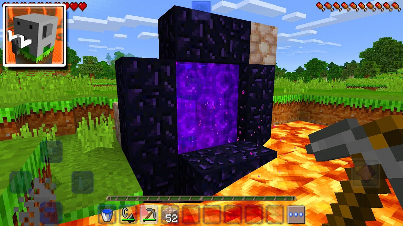 How To Make a Nether Portal without a Diamond Pickaxe In Craftsman (Like a Dream)