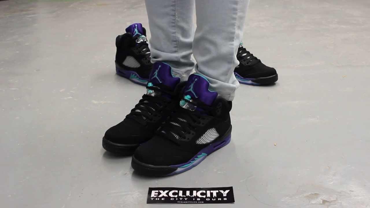 "GS Air Jordan V Retro ""Black Grape"" On-feet Video at ...Jordan Grape 5 Black On Feet"