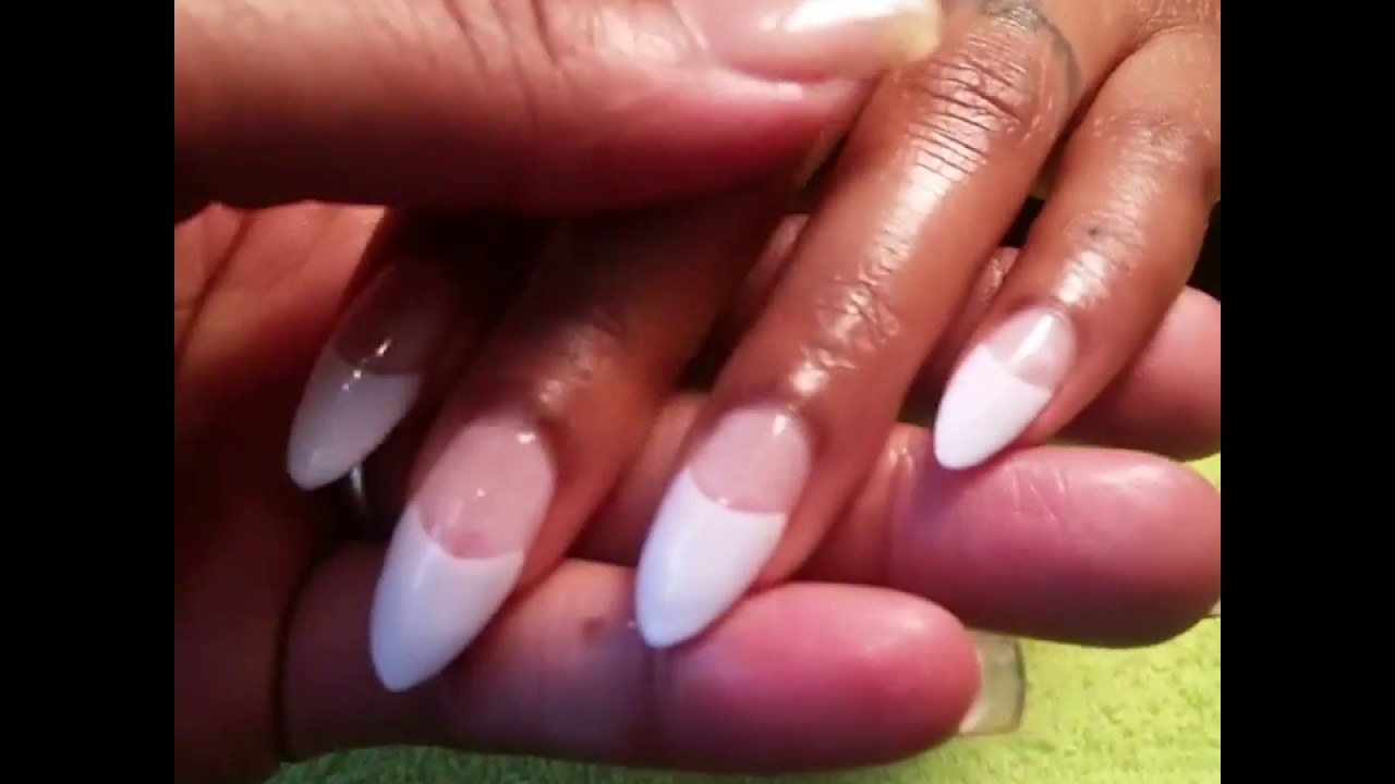 Almond Shaped French Nails Using White Tips Youtube