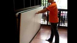 Wall Bed -hdb-dover Rd-blk13-super Single Hwb-h1080+bookshelves+cabinets-hiddenwallbed,hidden Bed