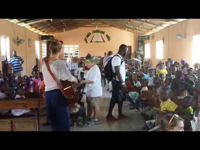 Sara Lou Richards Singing to children in Haiti on Soles4Souls Travel Trip Jan 2014 Travel Video
