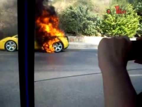 LAMBORGHINI  ( Gallardo) BURN IN ATHENS GREECE - By inaT