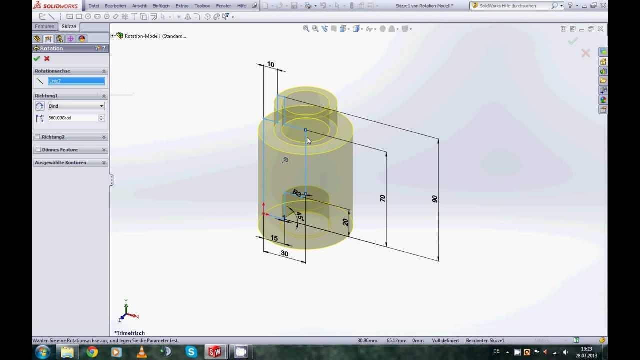 Solidworks 2013 5 Rotationsfeature Fasen Und Verrundungen Youtube