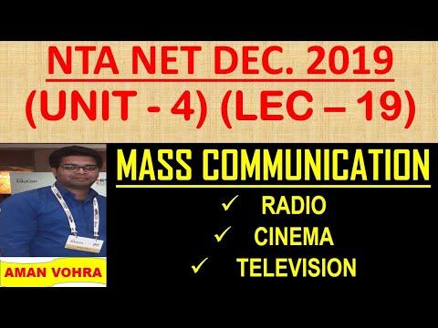 Mass Communication RADIO CINEMA TELEVISION Unit 4 Lec 19 Ugc Net 2019