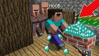 Minecraft NOOB vs PRO  : HOW NOOB STOLE ALL THE TREASURES FROM THE VILLAGE! Challenge 100% trolling!