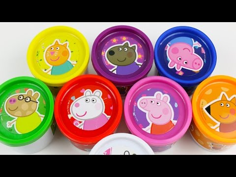 Play Doh Cans Surprise Eggs Peppa Pig doug toys Pepa Egg