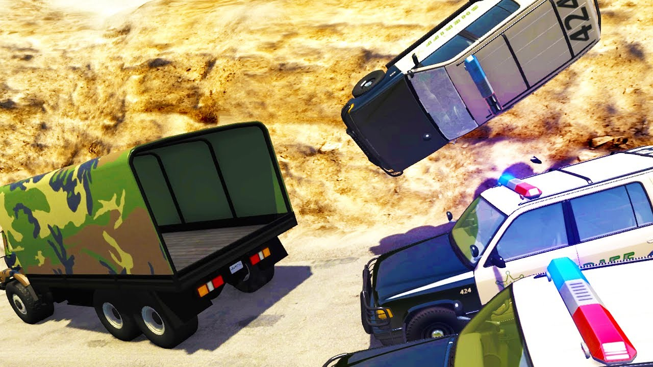 CRAZY OFF ROAD POLICE CHASES AND TAKEDOWNS! - BeamNG Drive Crash Test Compilation Gameplay