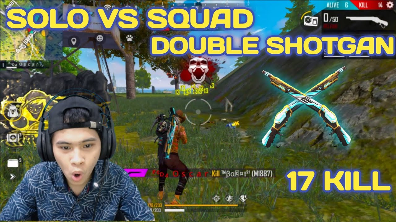 17 KILL SOLO VS SQUAD DISURUH PAKAI DOUBLE SHOTGAN - FREE FIRE INDONESIA