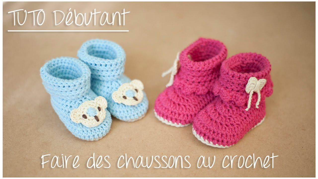 chaussons bottines au crochet pour debutant taille naissance a 12 mois
