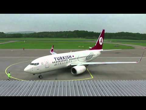 Turkish Airlines B737-700 *TC-JKK* timelapse and takeoff from Friedrichshafen (EDNY/FDH)