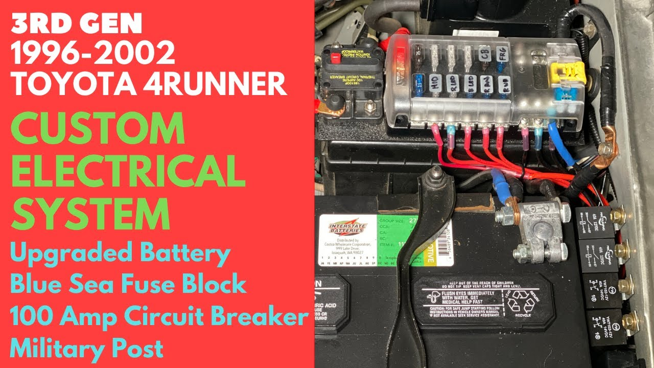 96-02 3rd Gen Toyota 4Runner Electrical System - Blue Sea, Circuit Breaker,  Military Battery Post - YouTubeYouTube