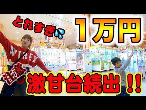 クレーンゲーム1チーム1万円で対決したら大物が大量に取れすぎてヤバい!まさかの激甘台だらけで史上最高!?【ロボットチャンネル】