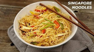 Singapore Rice Noodles - Restaurant Cafe Singaporean Style Recipes - CookingShooking
