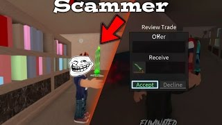 SCAMMED A KID FOR HIS EMERALD KNIGHT EXOTIC KNIFE ON ROBLOX ASSASSIN (TROLL)