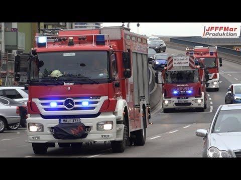 ELW 1 B-Dienst + Löschzug BF Mannheim HFW + RTW MHD RW Mannheim