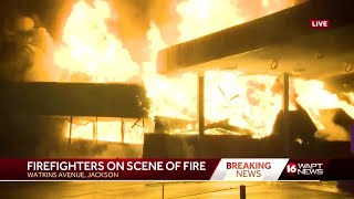 Gas station destroyed by raging fire