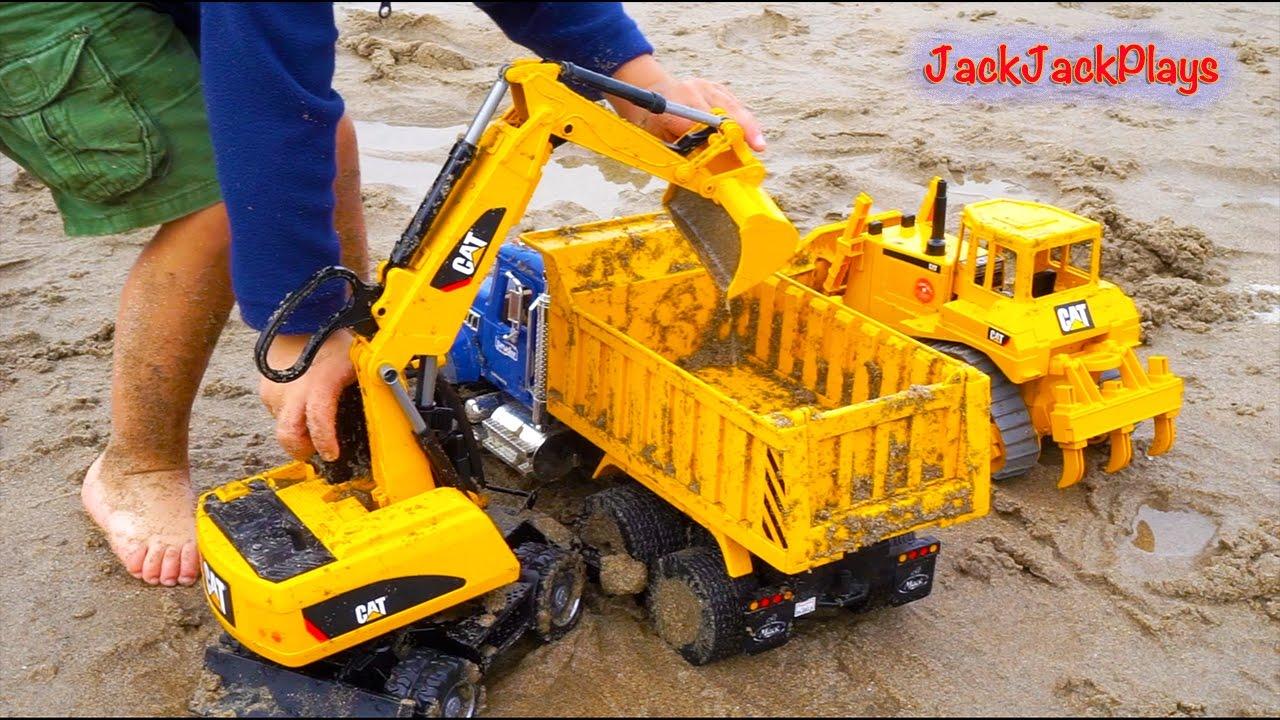 construction trucks for children beach digging bruder toy collection excavators backhoe. Black Bedroom Furniture Sets. Home Design Ideas