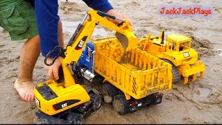 Construction Trucks for Children: Beach Digging - Bruder Toy Collection - Excavators Backhoe Dump