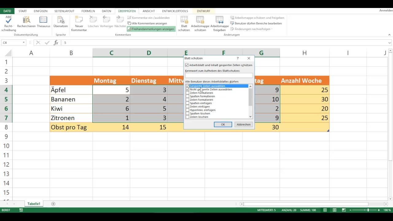 Einzelne Zellen in Microsoft Excel schützen - YouTube