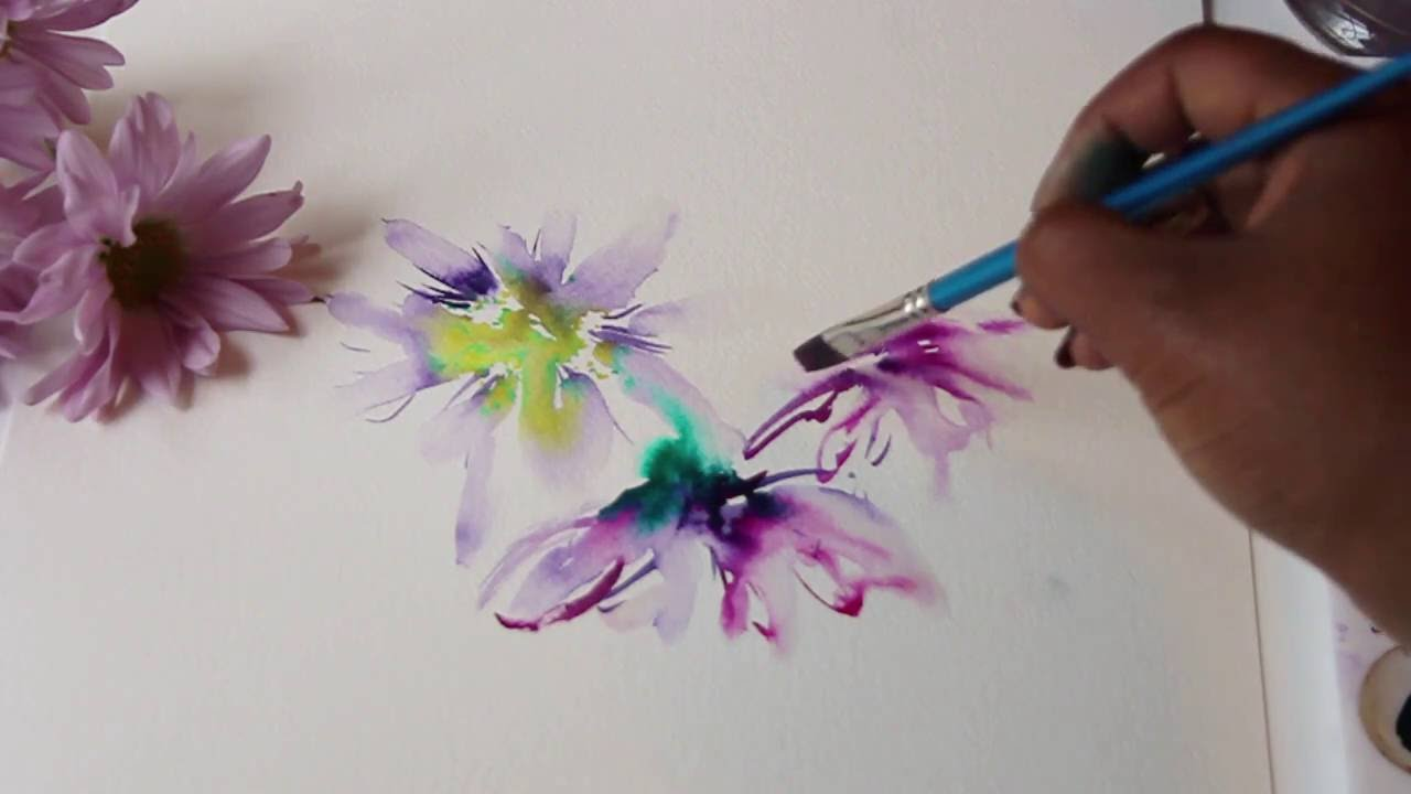 WATERCOLOR FLOWER PAINTING WET ON TECHNIQUE