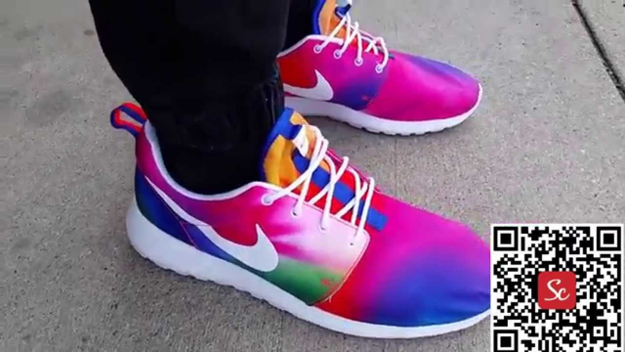 6c5f81eb97808 SoleCool App Nike Roshe Run Print What The Rainbow Shoes Review ...