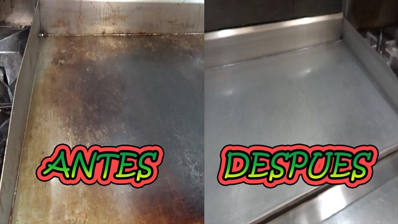 C mo limpiar la plancha hd video youtube - Limpiar plancha cocina ...