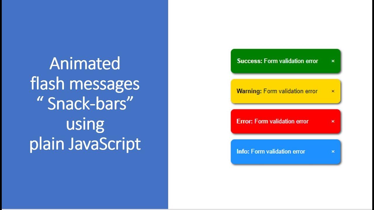 Flash messages using plain JavaScript