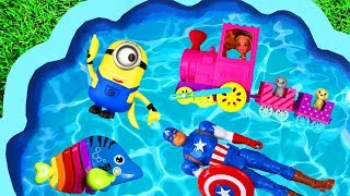 Learn Characters with Pj Masks, Paw Patrol, Peppa Pig and Superheroes for Kids and Children Pool
