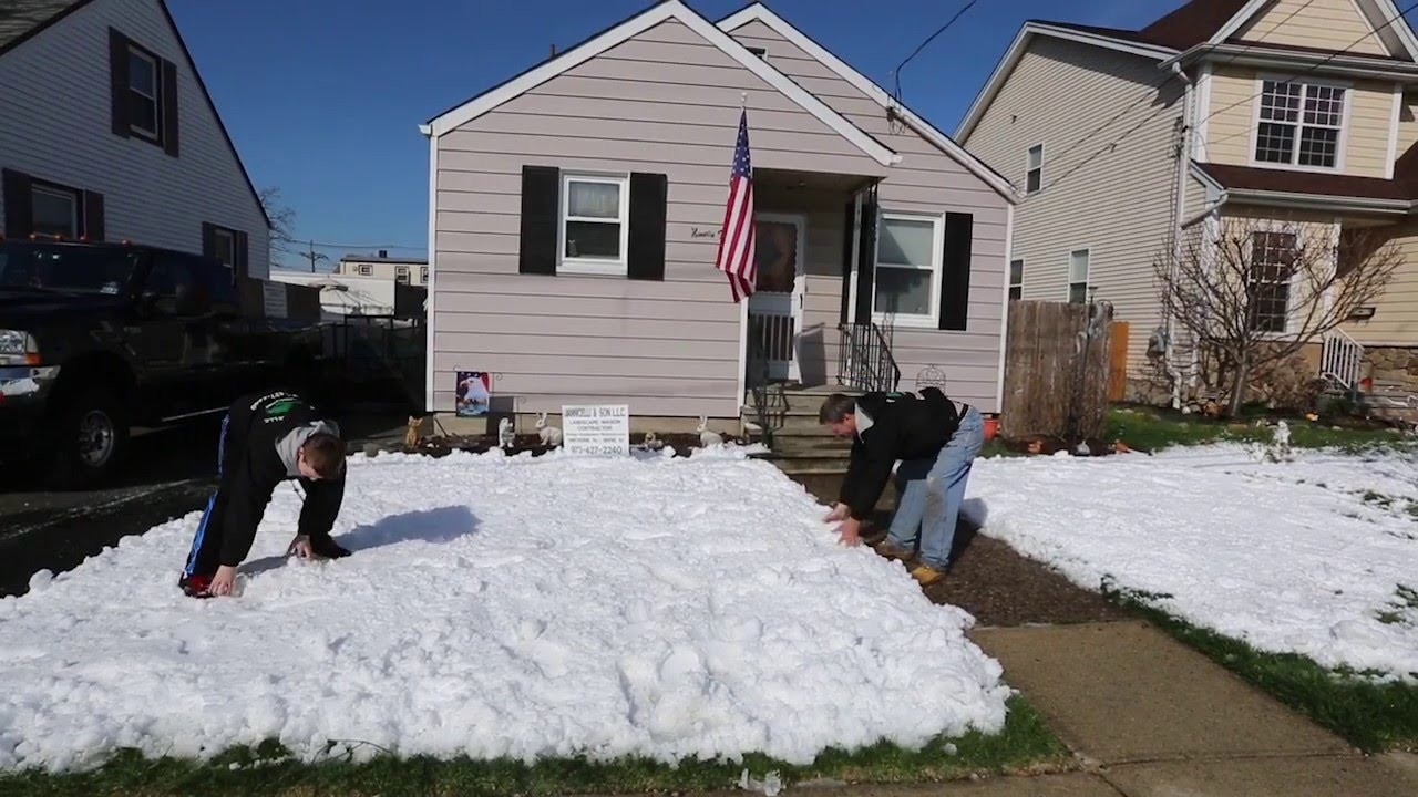 n j man loves making snow he covered his yard in april youtube