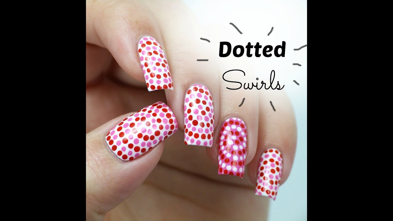 Nail Art For Beginners Youtube: Easy Dotted Swirls Nail Art, Perfect Nails For Valentine's