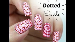 easy dotted swirls nail art perfect nails for valentine s day for beginners