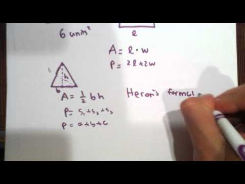 Areas and Perimeters of Basic Geometry Shapes with Explanation of Heron's Formula for Triangles