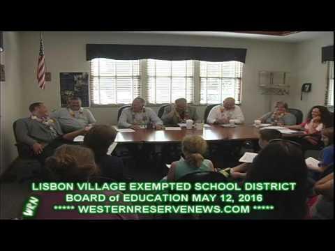 LISBON OHIO COLUMBIANA COUNTY EXEMPTED BOARD OF EDUCATION MEETING MAY 12, 2016