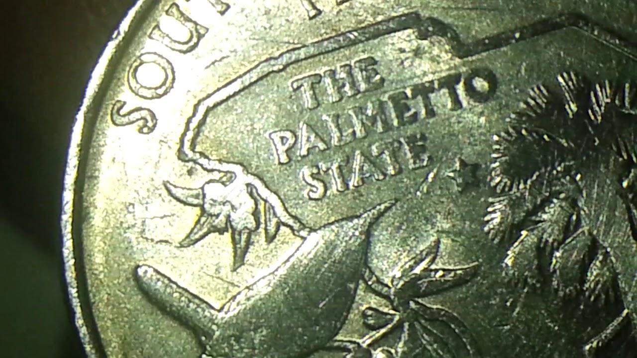 2000 D SOUTH CAROLINA STATE QUARTER RIM AND RUB ON REVERSE MINT ERROR