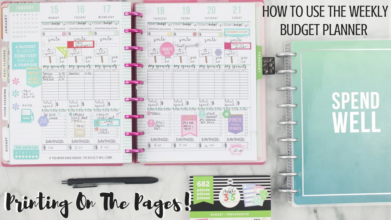 how to use the weekly budget planner pages printing on the